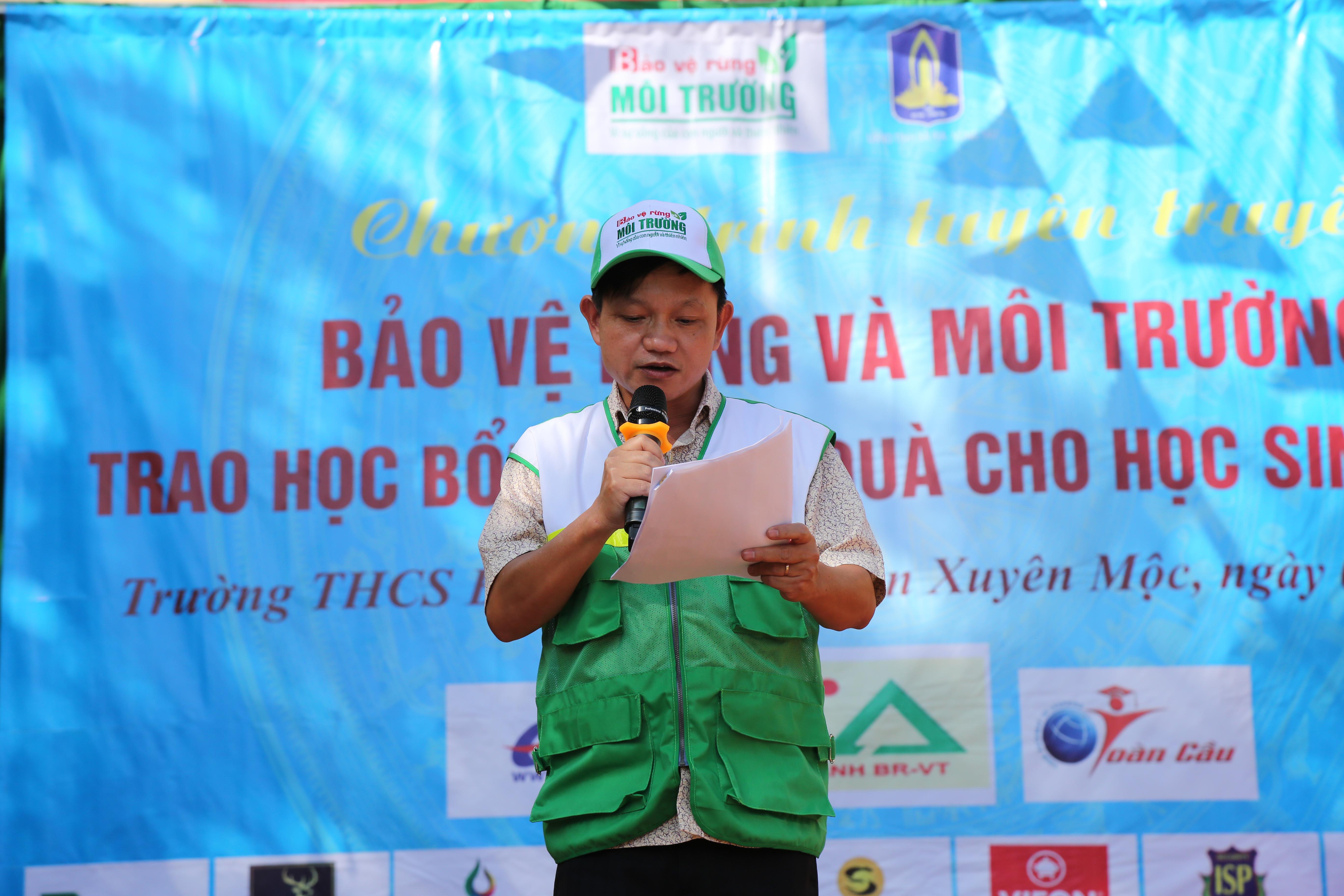 Ông Nguyễn Anh Tuấn, Trưởng VP TT Phía Nam Tạp chí điện tử Bảo vệ Rừng và Môi trường phát biểu tại chương trình.