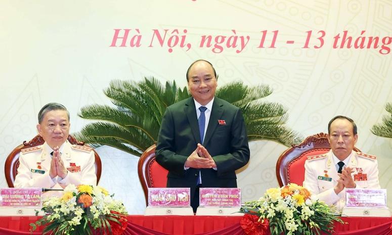 Ủy viên Bộ Chính trị, Thủ tướng Chính phủ Nguyễn Xuân Phúc đến dự Đại hội.