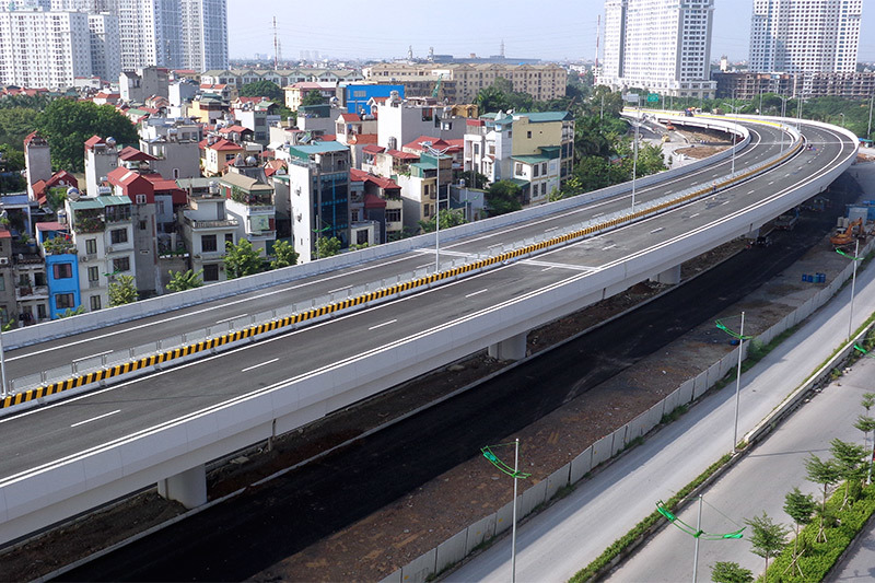Đến nay các hạng mục cầu cạn đã hoàn thành 100 %. Từ kết cấu, sơn kẻ đường và biển báo giao thông.